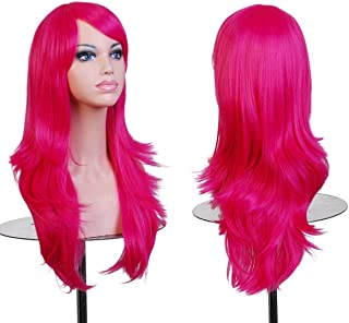 BERON Long Wavy Curly Wig High Standard Silk Female Cosplay Wig with Wig Cap (27'' Rose Red)