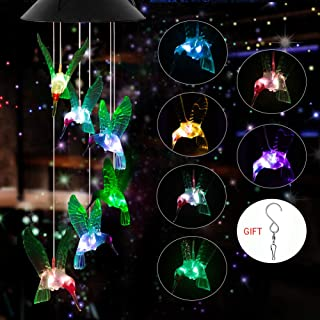 E-thinker Solar Color Changing Hummingbird Wind Chime Outdoor Decoration, Led Solar Powered Mobile Hanging Windchime for Patio/Yard/Garden/Pathway