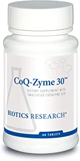 Biotics Research Coq-Zyme 30™ – 30 mg of emulsified coenzyme Q10 (CoQ10), as Well as a Full complement of Important B Vitamins. Supplies Superoxide dismutase and catalase, Two Important antioxidants.