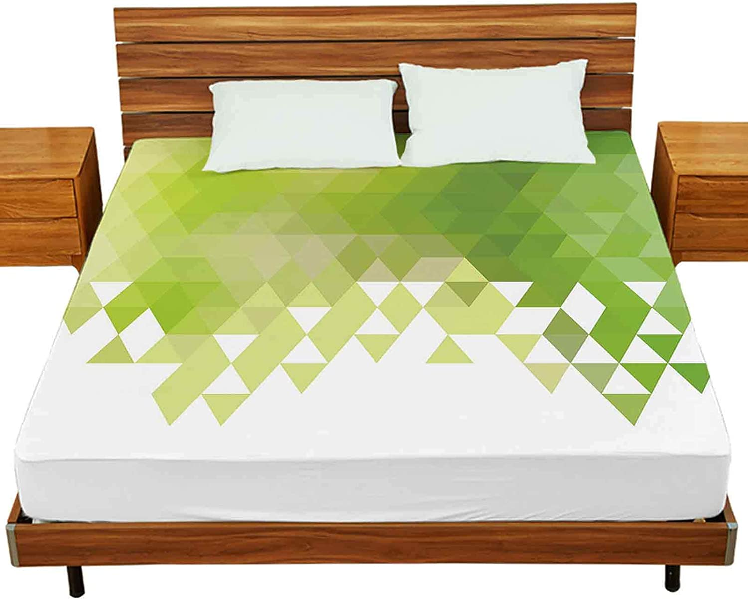 Queen Fitted Bed Sheets Vector Abstract Backgro Large-scale sale Geometric Green Oakland Mall