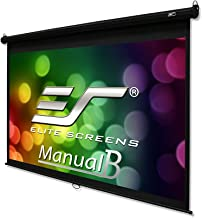 Elite Screens Manual B, 120-INCH 16:9, Manual Pull Down Projector Screen 4K / 8K Ultra HDR 3D Ready with Slow Retract Mechanism, 2-YEAR WARRANTY, M120H
