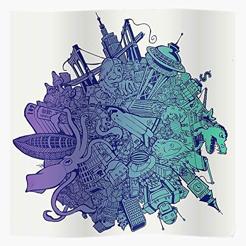 Fashionfloorindia Prince Retro all King Love New of York Katamari Gaming Damacy We Cosmos Ps2 Seattle Regalo per la Decorazione Domestica Poster da Parete Stampa Artistica 11.7 x 16.5 inch