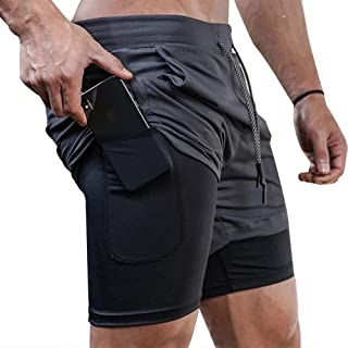 Surenow Mens Running Gym 2 in 1 Sports Shorts Breathable Outdoor Workout Training Shorts with Pockets