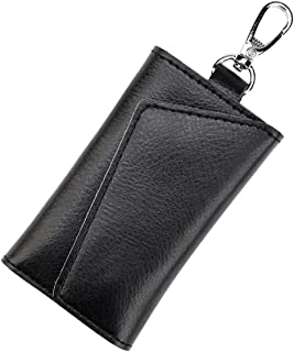 Chefkit Designer Key Case with Coin Pocket - Key Holder with Outer Key Pocket, Leather - Black