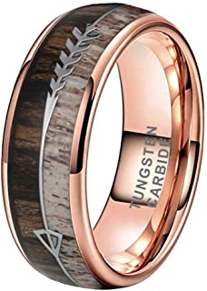 iTungsten 6mm 8mm Silver/Black/Rose Gold Tungsten Rings for Men Women Wedding Bands Deer Antler Koa Wood Arrow Inlay Domed Polished Shiny Comfort Fit