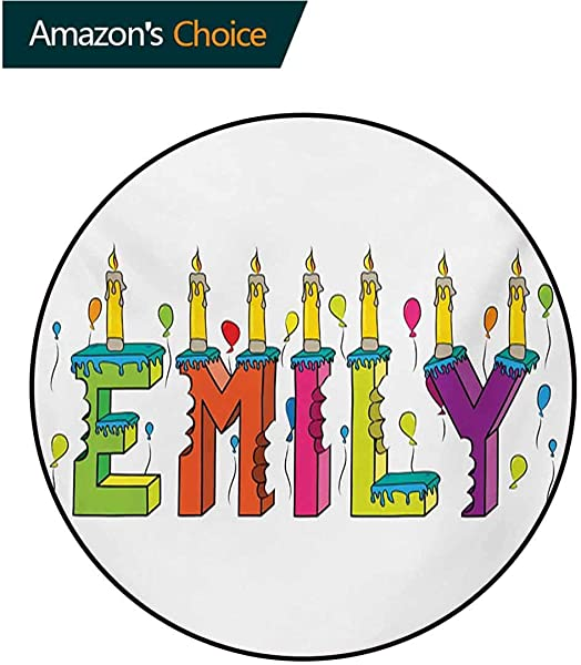 RUGSMAT Emily Modern Flannel Microfiber Non Slip Machine Round Area Rug Cartoon Doodle Birthday Cake With Cheerful Event Pattern Balloon Filled Background Floor Mat Home Decor Diameter 24 Inch