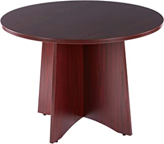 Sunon 41.3 inch Dia Round Conference Table with X-Shaped Wood Panel Small Dining Table (Mahogany)
