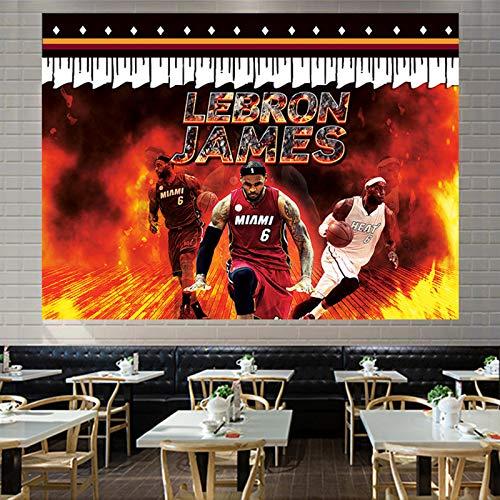 SPORS Tapiz de Estrellas del Jugador de Baloncesto de James, Ventiladores de Soporte de Arte de la Pared de la Pared de la Pared de la Pared para el Dormitorio con el paqu C-78.7 X 59.1 Inch