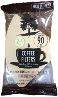 90 Sheets Disposable Coffee Filters 2 to 4 Cups Made From 100% Virgin Pulp Made in Japan