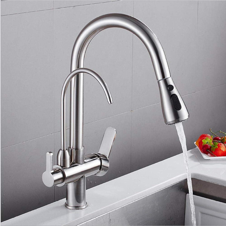 Küchenarmatur Dual Auslauf Trinkwasser Messing Luftreiniger Waschbecken Mischbatterie Warmes und kaltes Wasser Torneira