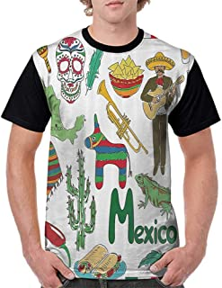 T Shirts,Mexican Decorations Collection,Fun Colorful Sketch Mexico Chili Pyramid Nachos Cactus Music Poncho Image,Green Olive Mustard S-XXL Custom Baseball Short Sleeves