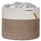 Goodpick Large Cotton Rope Basket 15.8'x15.8'x13.8'-Baby Laundry Basket Woven Blanket Basket Nursery Bin