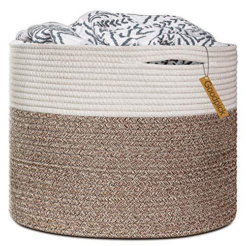 Goodpick Cesta de cuerda grande tejida cesta de almacenamiento en sala de estar, cesta de almohada de bebé, cesta de lavandería para juguetes, cesta de bebé, 40 x 35 cm