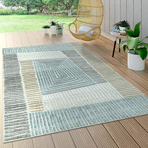 Paco Home In- & Outdoor Teppich, Terrasse u. Balkon, Wetterfest Modern Geometrische Muster, Grösse:60x100 cm, Farbe:Beige
