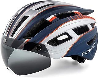 FUNWICT Casco Bicicleta Hombre Casco MTB con Gafas Magnéticas Extraíbles y Forro Interior Casco Bicicleta con Luz Trasera ...