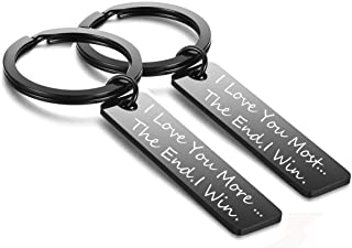 Couples Keychain Set I Love You More Most Keyring,Birthday Wedding Gifts Valentine Day Gifts for Girlfriend Boyfriend
