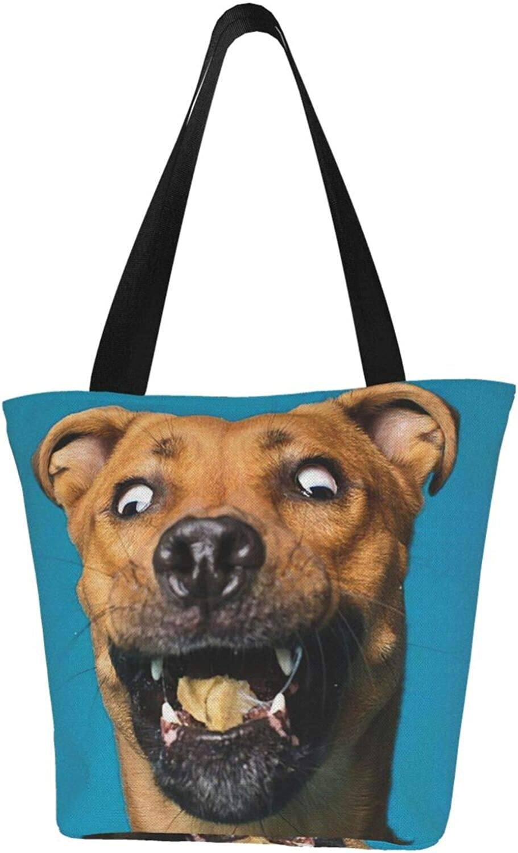 Cross - Eyed Dog Funny Theme Themed Printed Women Canvas Handbag Zipper Shoulder Bag Work Booksbag Tote Purse Leisure Hobo Bag For Shopping