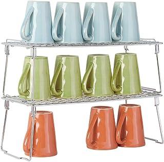 mDesign étagère pour armoire (lot de 2) – étagère en métal pliable pour la cuisine avec pieds retirables – système de rang...