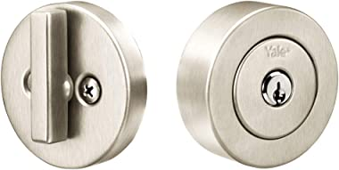 Yale Home 4881N19FR Flat Round Single Cylinder, Satin Nickel Deadbolt