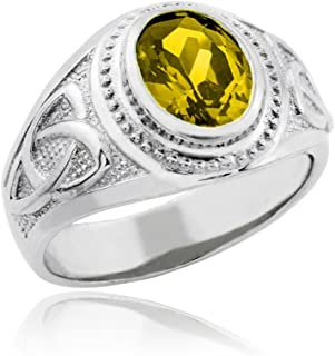 Men's 925 Silver Eternal Trinity Knot Band Yellow CZ November Birthstone Celtic Cross Ring