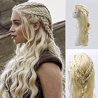 LIUOOWEI Juego de Tronos Daenerys Targaryen Barbarian Trenzado Rizado Largo Ondulado Cosplay Peluca