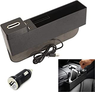 AUCD Car Console Side Pocket Seat Crevice Storage Organizer Seat Gap Pocket Organizer with Non-Slip Mat, Coin Box and 2 USB Charging Ports for Automotive Interior Accessories (Black)