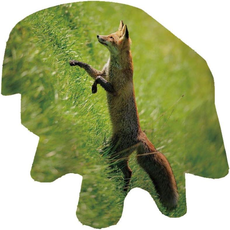 Angel Bags Fox - Mantel ovalado para mesa de poliéster, diseño de zorro rojo saltando corriendo en hierba verde fresca, para primavera, verano, fiesta, picnic, verde y marrón