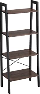VASAGLE Industrial Bookshelf, 4-Tier Ladder Shelf, Free Standing Storage Shelves, Stable Metal Frame, Living Room Kitchen or Balcony, Easy to Assemble, Rustic Dark Brown ULLS44BF