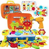 WISESTAR 380PCS Electric Drill Puzzle Toy Set for Kids, Creative Mosaic Drill Trendy Bits Set with Building Blocks for Toddlers Boys Girls Age 4-8 8-12