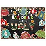 Allenjoy 7X5ft Christmas New Year Backdrop Tacky Ugly Xmas Sweater Party Eat Drink Cookie Exchange...