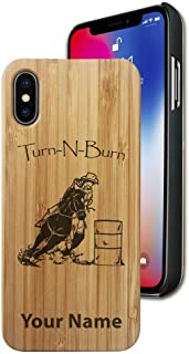 Case Compatible with iPhone XR, Barrel Racer Turn N Burn, Personalized Engraving Included (Bamboo)