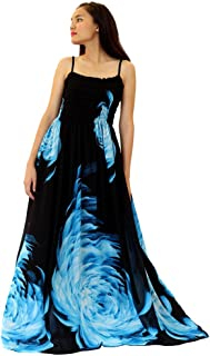 Women Floral Maxi Dress Plus Size Clothing Long Casual Black Sleevesless 4X