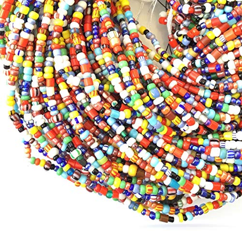 10 Strands Vintage Christmas Beads Ashanti Melody African Trade Beads-Ghana