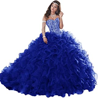 Women's Heavy Beaded Organza Ruffle Quinceanera Dress