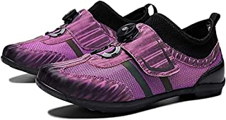 ZMYC Mountain Bike Shoes Road Cycling Shoes Anti-skid Bike Shoes Lock-free Electricity Shoes Casual Breathable Hard Ground Cycling (Color : Purple, Size : 45)