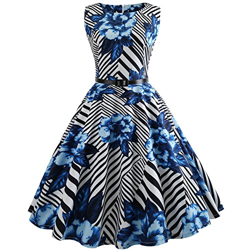 COZOCO Vestido Retro a Rayas Retro de los Años 50 Cinturón Retro Retro de Audrey Vestido de Fiesta de Cóctel de los Años 50(Azul,S