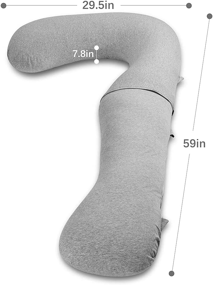 NiSleep Pregnancy Pillow,Maternity Body Pillow with Pillow Cover,L Shaped Body Pillow for Pregnant Women