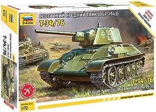 Zvezda 5001 Soviet Medium Tank T-34/76 mod. 1943 Year Plastic Model Kit Scale 1:72 63 Parts