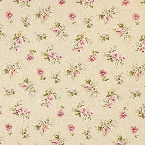 Fabulous Fabrics Halbpanama natur, Blume, 140cm breit – Halbpanama zum Nähen von Kissen, Tischdecken und Taschen – Meterware erhältlich ab 0,5 m