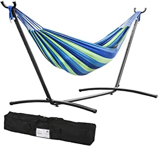 FDW Double Hammock with Space Saving Steel Stand Includes Portable Carrying Case (Blue)