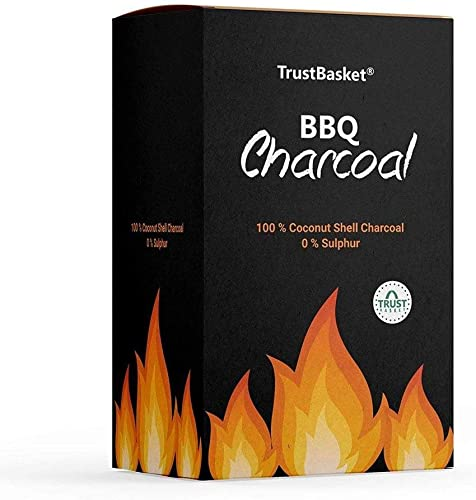 TrustBasket Charcoal Briquettes 5kg Long Burning Barbeque Charcoal with Low Smoke Used in Grilling Barbecue Home Kitchen