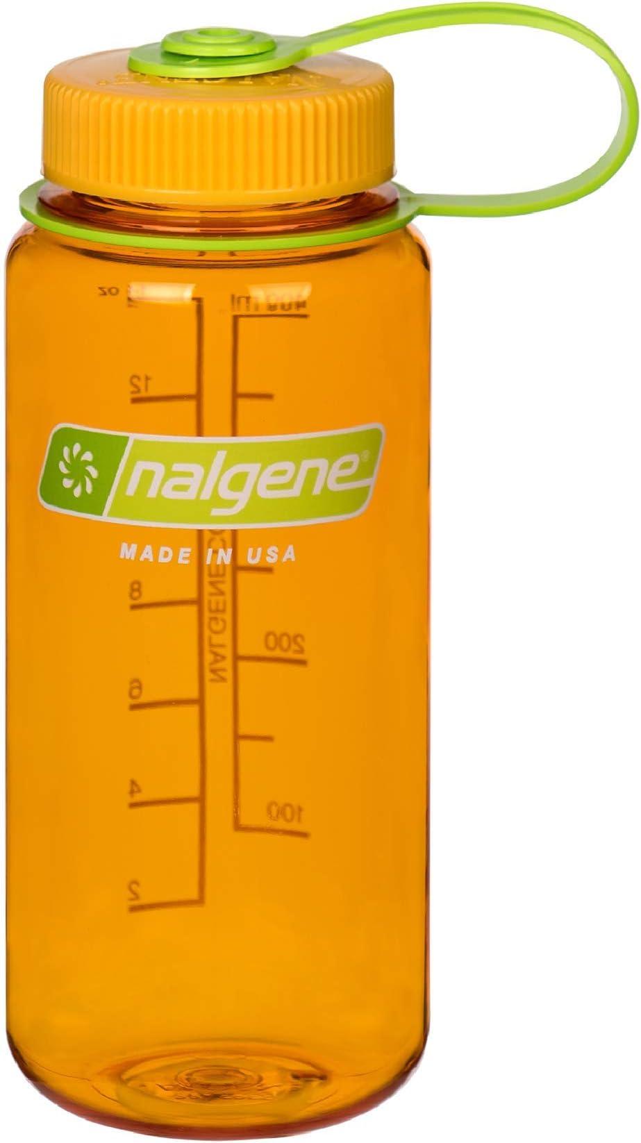 Nalgene Tritan Wide Mouth BPA-Free Water Bottle, Clementine, 16 oz (342071)