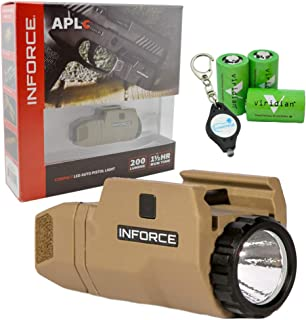InForce APLc Compact WML Weapon Mounted White Light Auto Pistol 200 Lumens (Not Glock) - Tan - Includes 3x CR2 Viridian Batteries and a Lumintrail Key-Chain Light