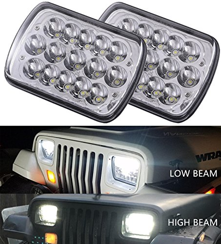 Vouke 2pcs 5x7 6x7 inches 45w Rectangular Sealed Beam Led Headlights for Wrangler YJ Cherokee XJ Trucks 4X4 Offroad Headlamp Replacement H6054 H5054 H6054LL 69822 6052 6053 with H4 Plug