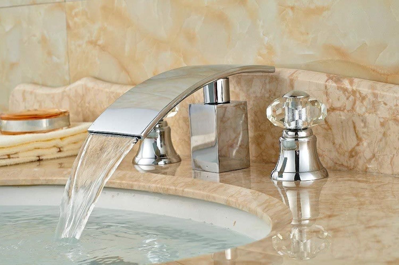 U-Enjoy Kronleuchter Messing Wasserfall Chrom-Badezimmer-Hahn-Hochwertiger Kristall Basin Griffe Wannen-Mischer-Hahn Kostenloser Versand