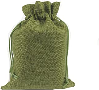"MELUOGE Burlap Cloth Jewelry Crosses Treasure Pouches 6""x8"" Drawstring Pouches Gift Bag (10, Green)"