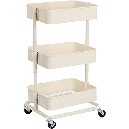 SONGMICS Chariot à 3 niveaux, Desserte, Étagère de rangement mobile, tablette réglable en hauteur, avec 2 freins, montage facile, pour salle de bain, cuisine, bureau, Blanc BSC60WT
