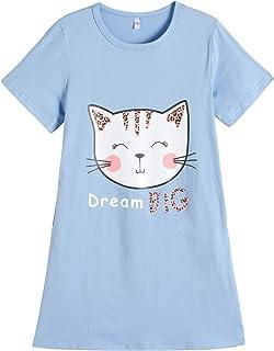 Vopmocld Big Girls Summer Lovely Nightgown Cute Panda Leopard Cat Sleepwear Funny Sleep Dress