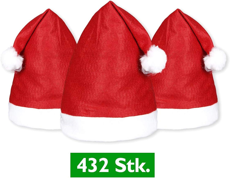 Alsino 432 Stück Weihnachtsmütze Nikolausmütze rot Bommel 32