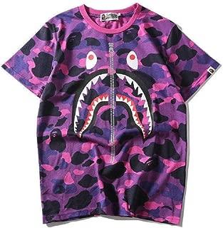 Round Neck Shirt Camo Short Sleeves Cotton A Bathing Bape Ape Shark Head T-Shirt